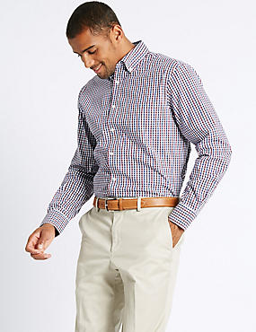 Easy to Iron Regular Fit Oxford Shirt, RED MIX, catlanding