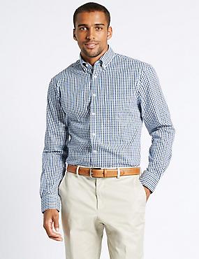 Easy to Iron Regular Fit Oxford Shirt, NAVY MIX, catlanding