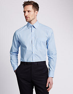 Pure Cotton Striped Easy to Iron Oxford Shirt