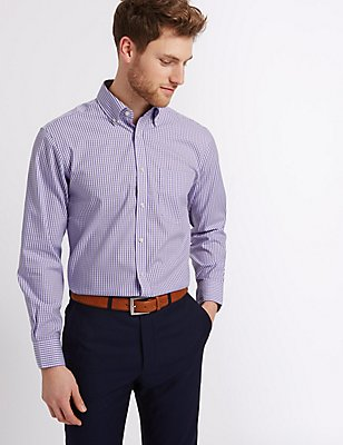 Pure Cotton Oxford Shirt with Pocket, LILAC MIX, catlanding