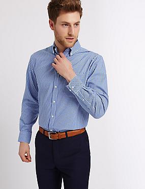 2in Longer Pure Cotton Oxford Shirt, BLUE MIX, catlanding