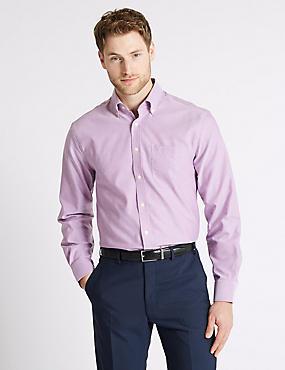 Easy to Iron Regular Fit Oxford Shirt, MAGENTA, catlanding
