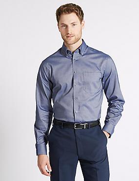 Easy to Iron Regular Fit Oxford Shirt, DENIM, catlanding