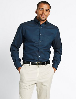 Pure Cotton Oxford Shirt with Pocket, DARK INK, catlanding
