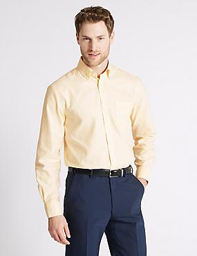Easy to Iron Regular Fit Oxford Shirt, YELLOW, catlanding