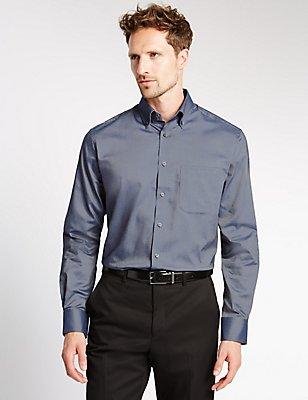 Pure Cotton Oxford Shirt with Pocket, INDIGO, catlanding