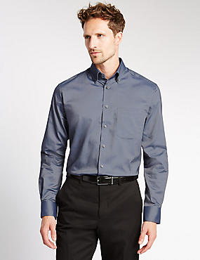 Pure Cotton Oxford Shirt with Pocket, INDIGO, catlanding
