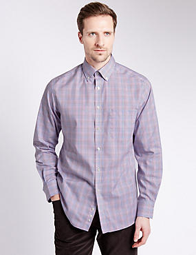 Pure Cotton Easy to Iron Oxford Checked Shirt