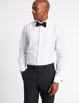 Easy to Iron Tailored Fit Dinner Shirt, WHITE, catlanding