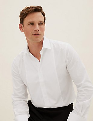 Cotton Blend Tailored Fit Shirt, WHITE, catlanding