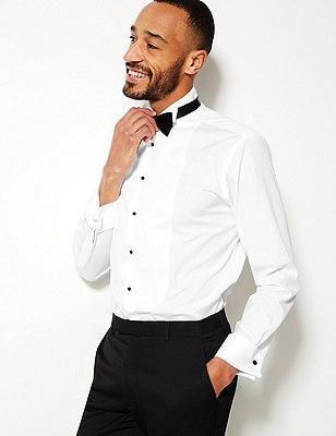 Pure Cotton Wing Collar Dinner Shirt, WHITE, catlanding