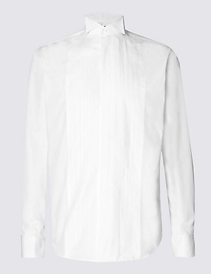 2in Longer Cotton Blend Regular Fit Shirt, WHITE, catlanding