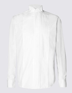 2in Longer Cotton Blend Shirt, WHITE, catlanding