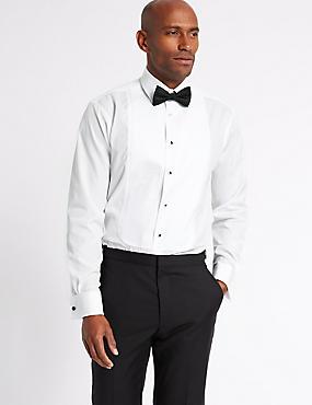 2in Longer Easy to Iron Dinner Shirt, WHITE, catlanding