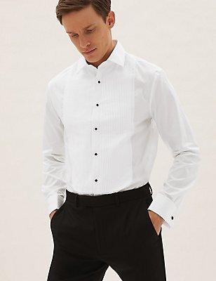 Easy to Iron Slim Fit Dinner Shirt, WHITE, catlanding