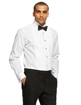 Pure Cotton Pleated Dinner Shirt, WHITE, catlanding