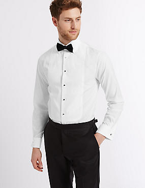 2in Longer Pure Cotton Slim Fit Shirt, WHITE, catlanding