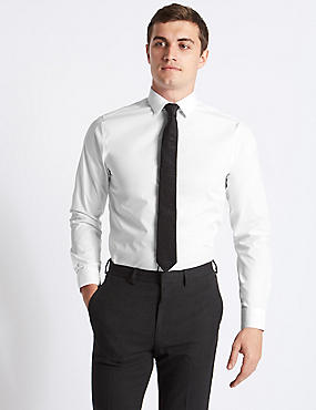 Cotton Rich Tailored Fit Shirt, WHITE, catlanding