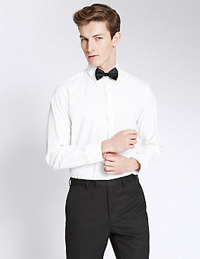 Easy Care Slim Fit Shirt with Bow, WHITE, catlanding