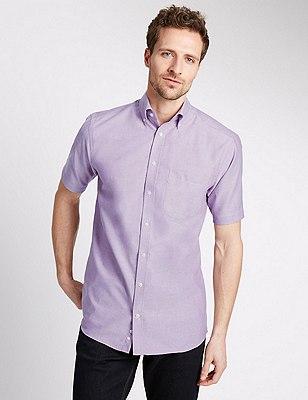 Pure Cotton Easy to Iron Short Sleeve Oxford Shirt, PLUM, catlanding