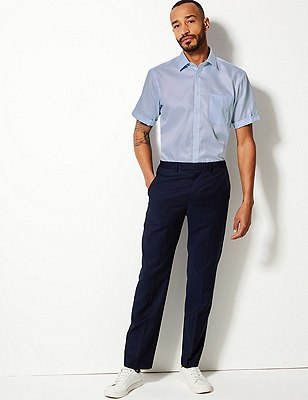 Performance Non-Iron Pure Cotton Short Sleeve Fine Twill Shirt, SKY, catlanding