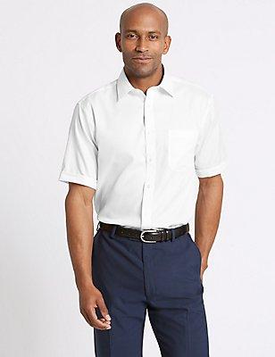 2in Longer Pure Cotton Non-Iron Regular Shirt, WHITE, catlanding