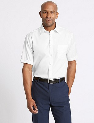Performance Non-Iron Pure Cotton Short Sleeve Fine Twill Shirt, WHITE, catlanding