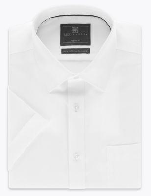 Саржевая рубашка Performance из чистого хлопка с коротким рукавом