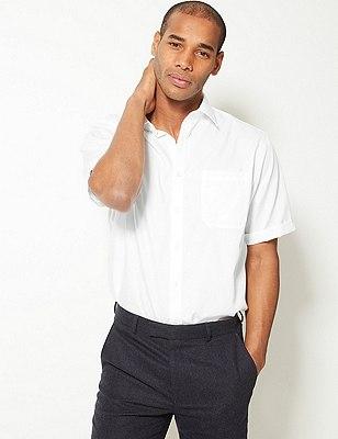 Performance Pure Cotton Non-Iron Short Sleeve Satin Striped Shirt, WHITE, catlanding