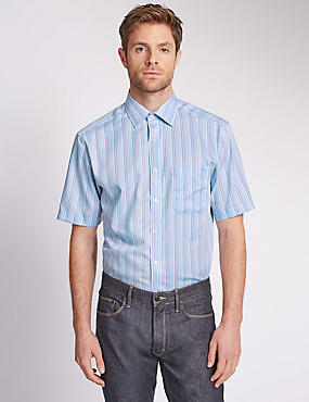 Pure Cotton Short Sleeve Striped Shirt