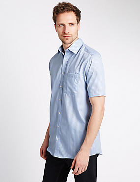 Performance Pure Cotton Short Sleeve Striped Non-Iron Twill Shirt