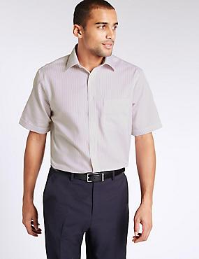 Bügelfreies Hemd aus reiner Baumwolle mit Tasche, MAGENTA, catlanding