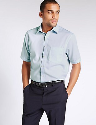 Pure Cotton Non-Iron Shirt with Pocket, LIGHT BLUE, catlanding