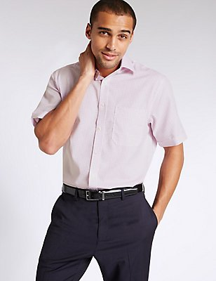 Pure Cotton Non-Iron Shirt with Pocket, MAGENTA, catlanding