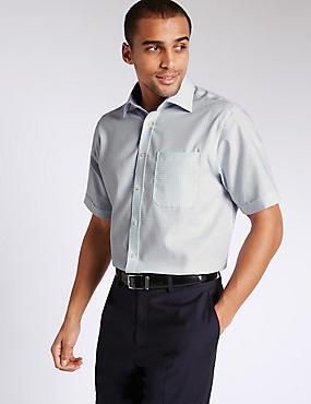 Pure Cotton Non-Iron Shirt with Pocket, LIGHT BLUE, catlanding