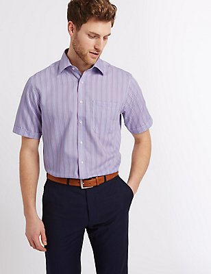 Pure Cotton Non-Iron Shirt with Pocket, LILAC MIX, catlanding