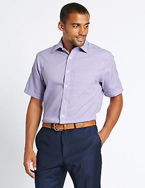 Pure Cotton Non-Iron Checked Shirt, LILAC MIX, catlanding