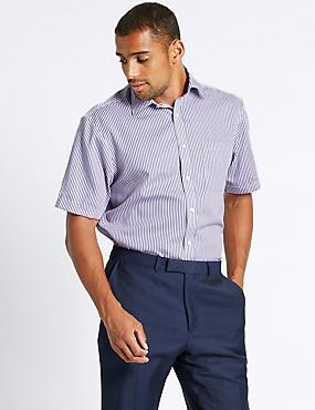 Pure Cotton Non-Iron Shirt with Pocket, LILAC MIX, catlanding