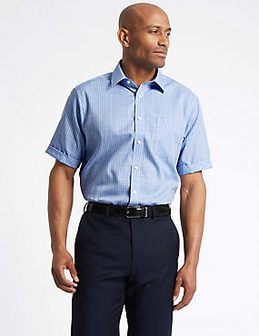 Pure Cotton Non-Iron Shirt with Pocket, BLUE MIX, catlanding
