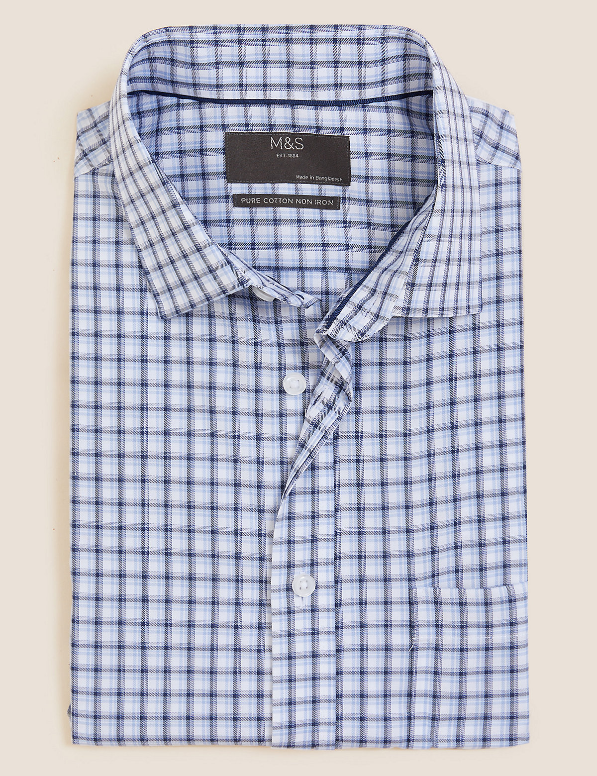 Мужская рубашка  в клетку из чистого хлопка