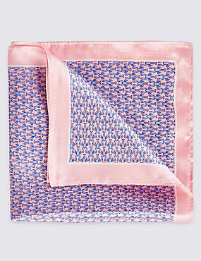 Pure Silk Printed Pocket Square, PINK MIX, catlanding