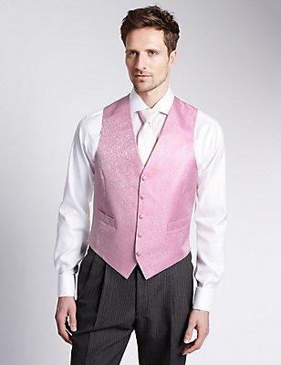 Pure Silk 5 Button Floral Waistcoat, PINK MIX, catlanding