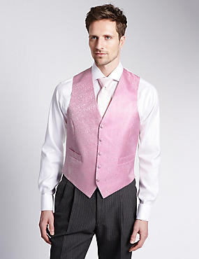 Gilet de costume 100% soie 5boutons à motif fleuri, ROSE ASSORTI, catlanding