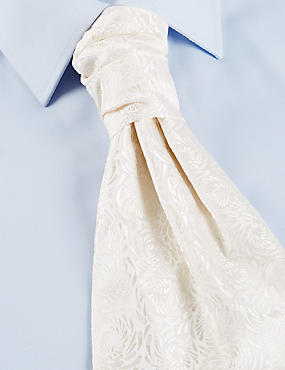 Pure Silk Wedding Cravat, IVORY, catlanding
