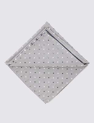 Pure Silk Multi Spotted Pocket Square, GREY MIX, catlanding