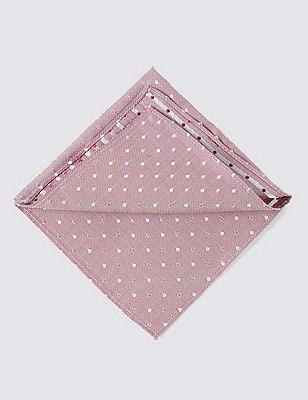 Pure Silk Multi Spotted Pocket Square, PLUM MIX, catlanding