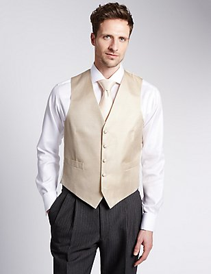 Pure Silk 5 Button Waffle Textured Waistcoat, CHAMPAGNE, catlanding
