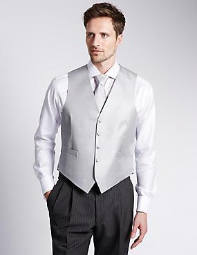 Pure Silk 5 Button Waffle Textured Waistcoat, PLATINUM, catlanding