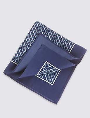 Pure Silk Pocket Square, BLUE MIX, catlanding