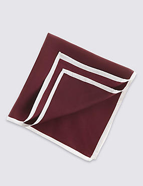 Pure Silk Pocket Square, DARK RED, catlanding